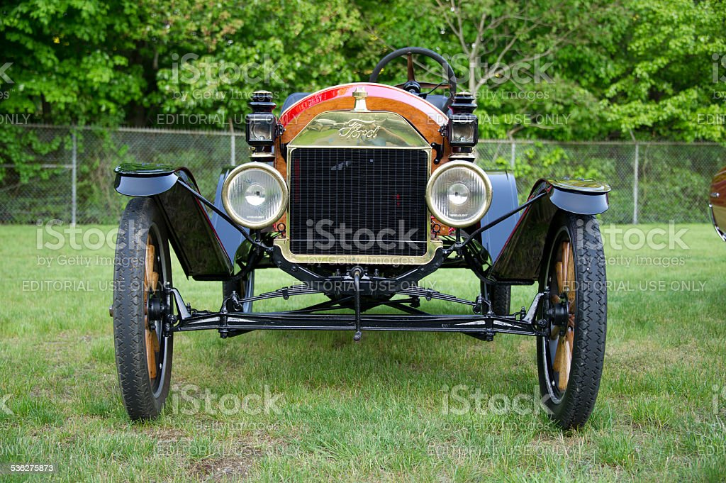 Vintage Ford on lawn at New England car show stock photo