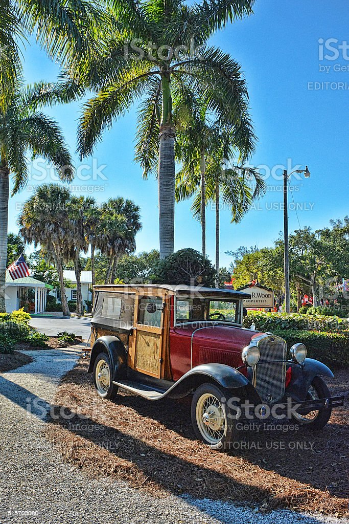 Vintage Ford with Christmas Tree stock photo