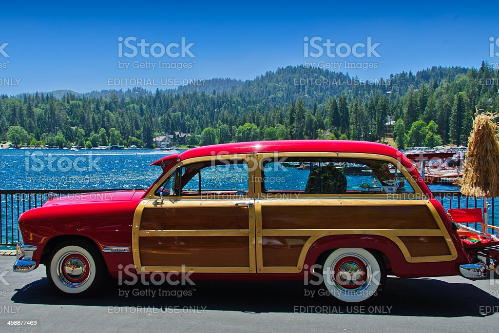 Vintage Ford Woody at Arrowhead stock photo
