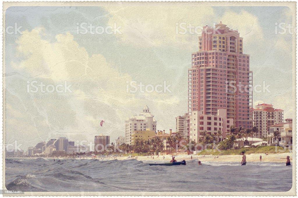 Vintage Fort Lauderdale Beach Postcard royalty-free stock photo