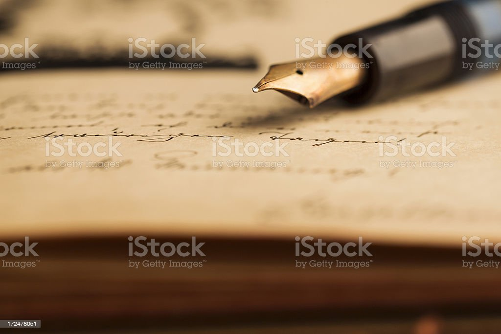 Vintage fountain pen stock photo