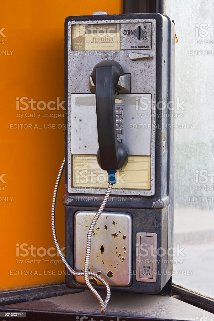 Fairmount, IN - December 2015: Vintage Frontier Pay Phone I stock photo