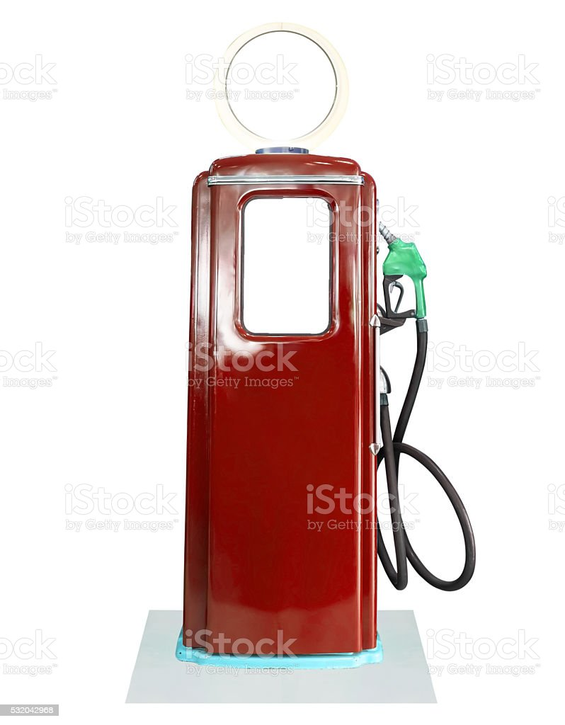Vintage fuel pump on white background stock photo