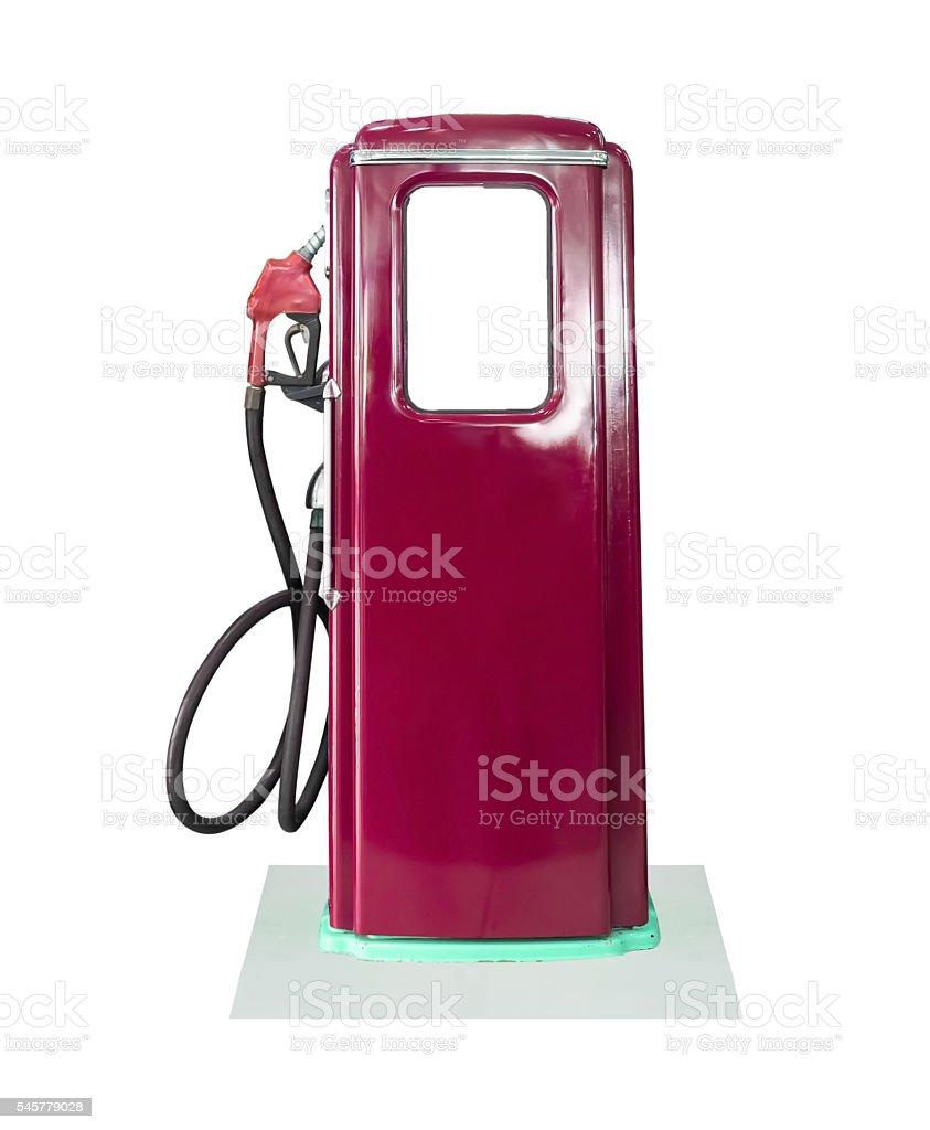Vintage fuel pump on white background stock photo