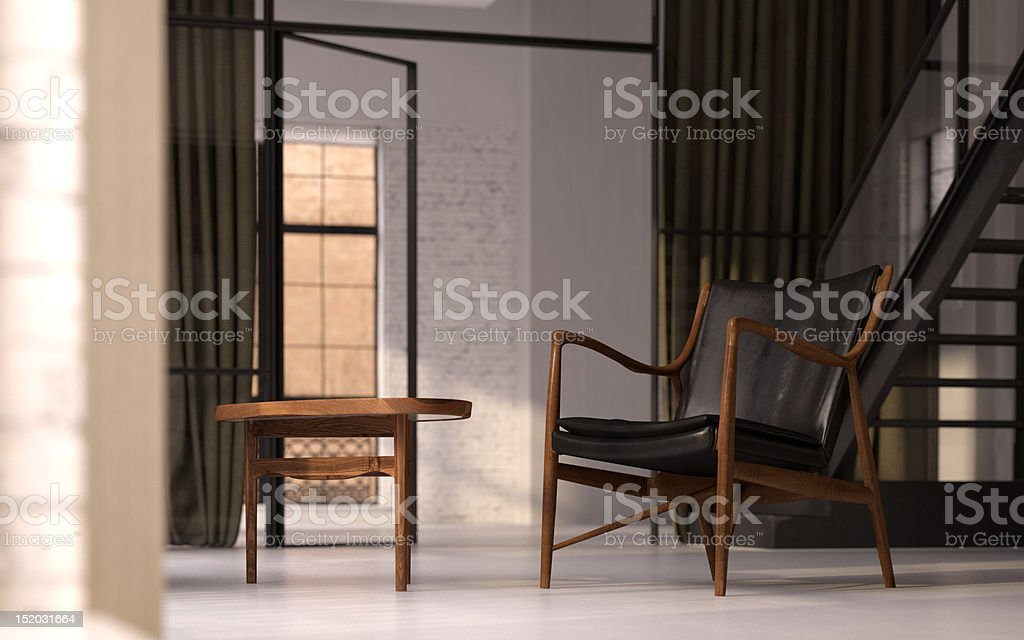 Vintage furniture in empty white loft royalty-free stock photo