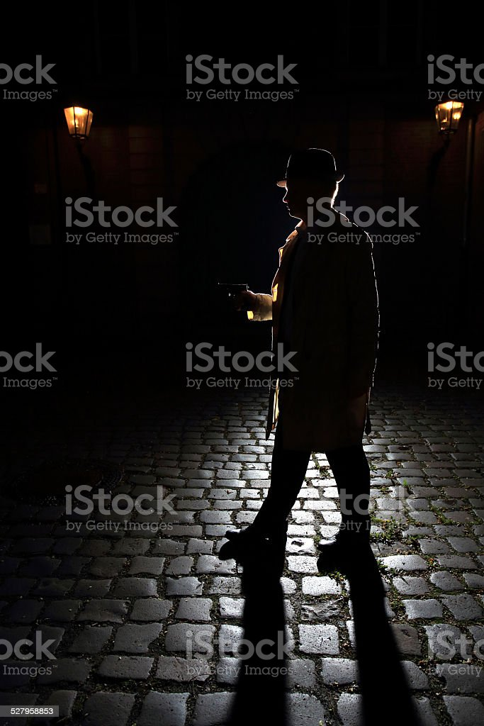 vintage gangster with fedora and a gun stock photo