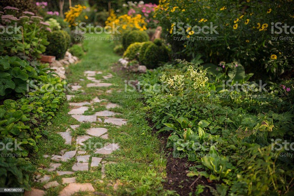 vintage garden decoration path stock photo