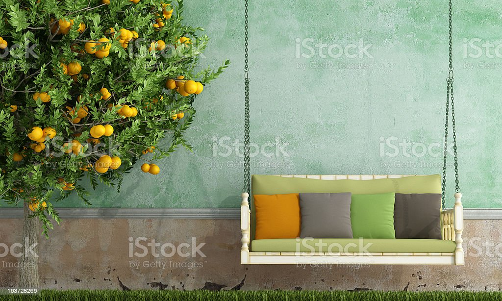Vintage garden swing stock photo