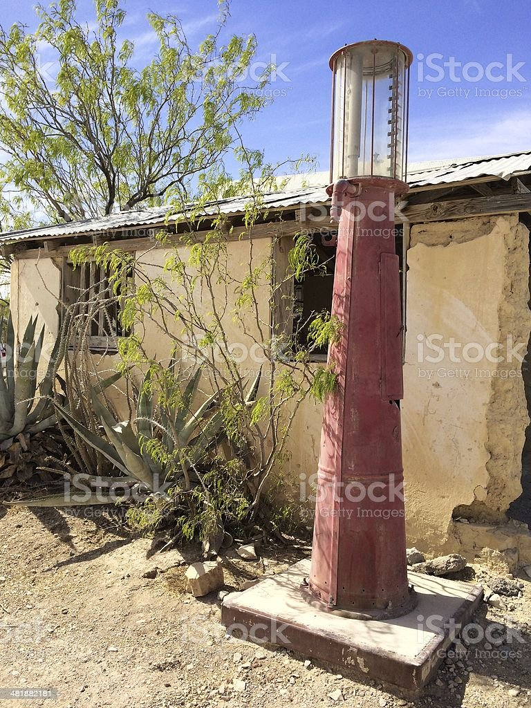 Vintage Gas Pump In The Desert stock photo