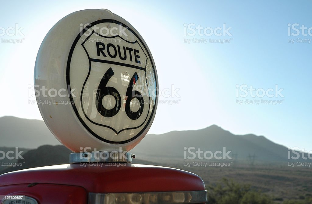 Vintage Gas Pump Route 66 stock photo