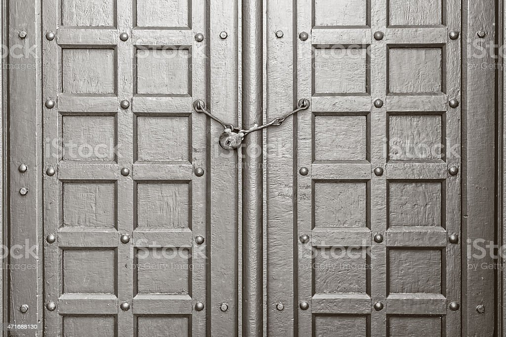 Vintage Gate with Chain Key Lock stock photo