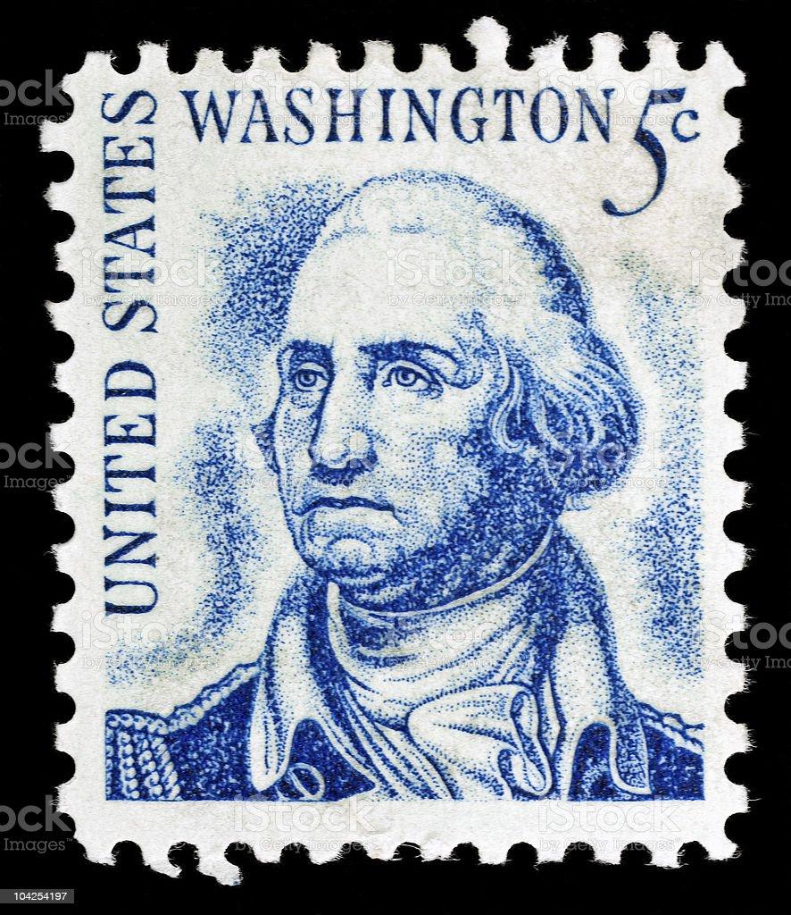 Vintage George Washington USA 5c postage stamp royalty-free stock photo