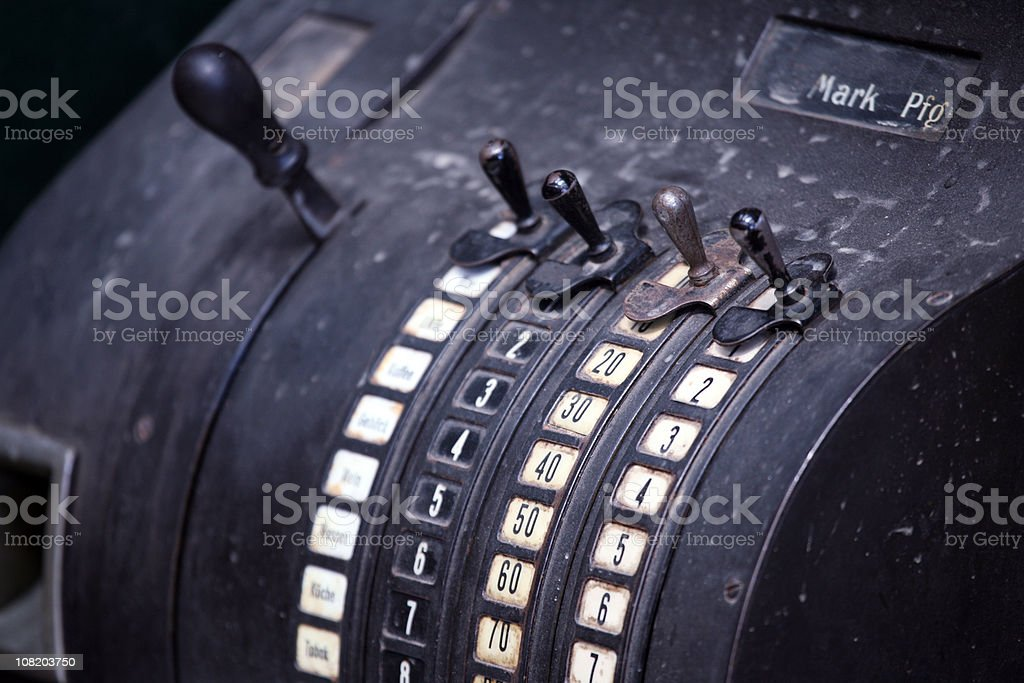Vintage German Cash Register with Old Currency stock photo