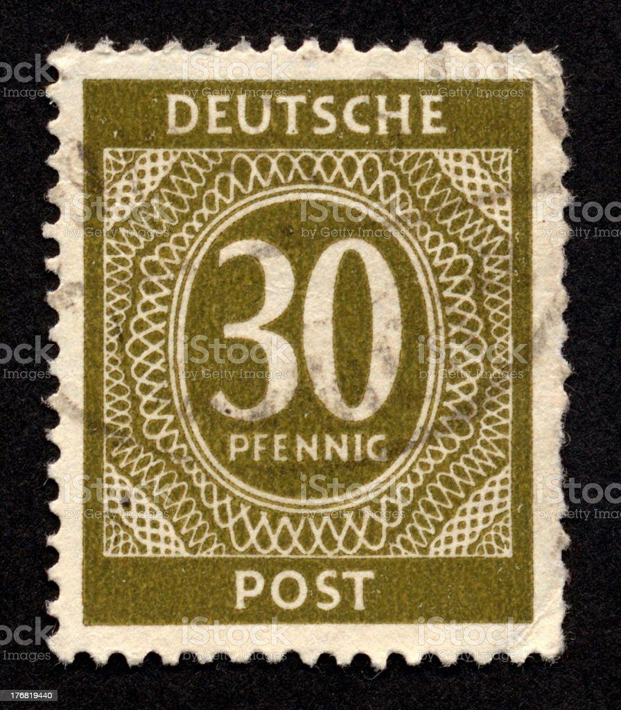 Vintage German Stamp, Ephemera. royalty-free stock photo