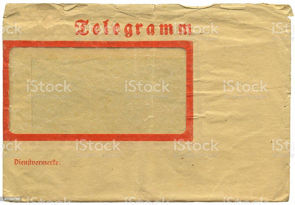 Vintage german telegram envelope royalty-free stock photo