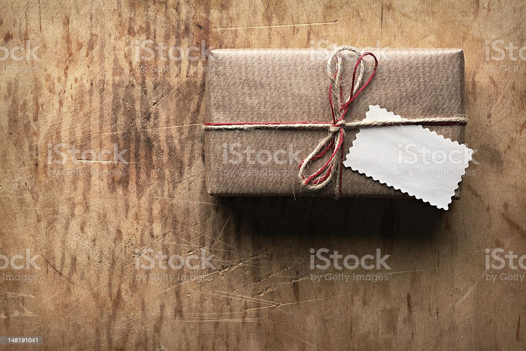 Vintage gift box on old wood. stock photo