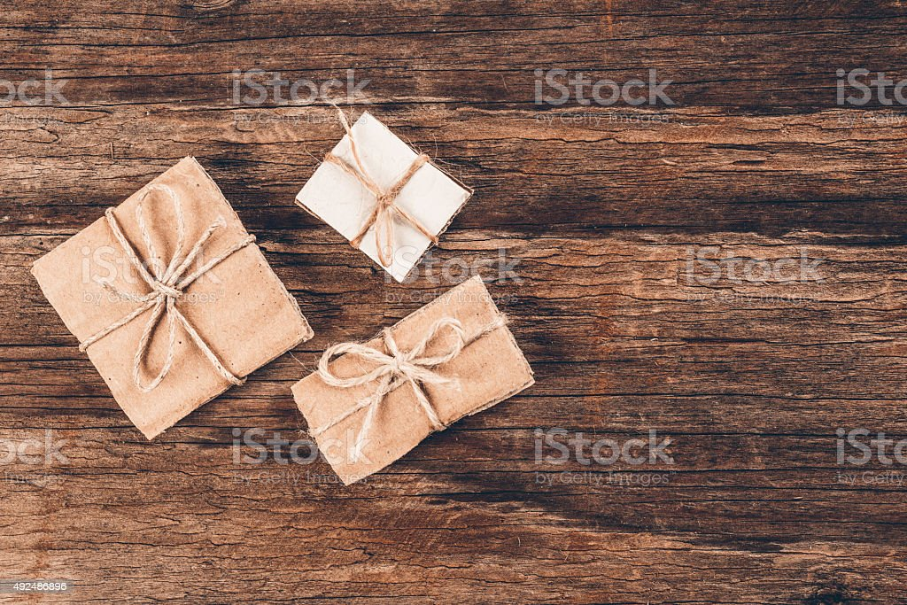 Vintage gift box on wooden background stock photo