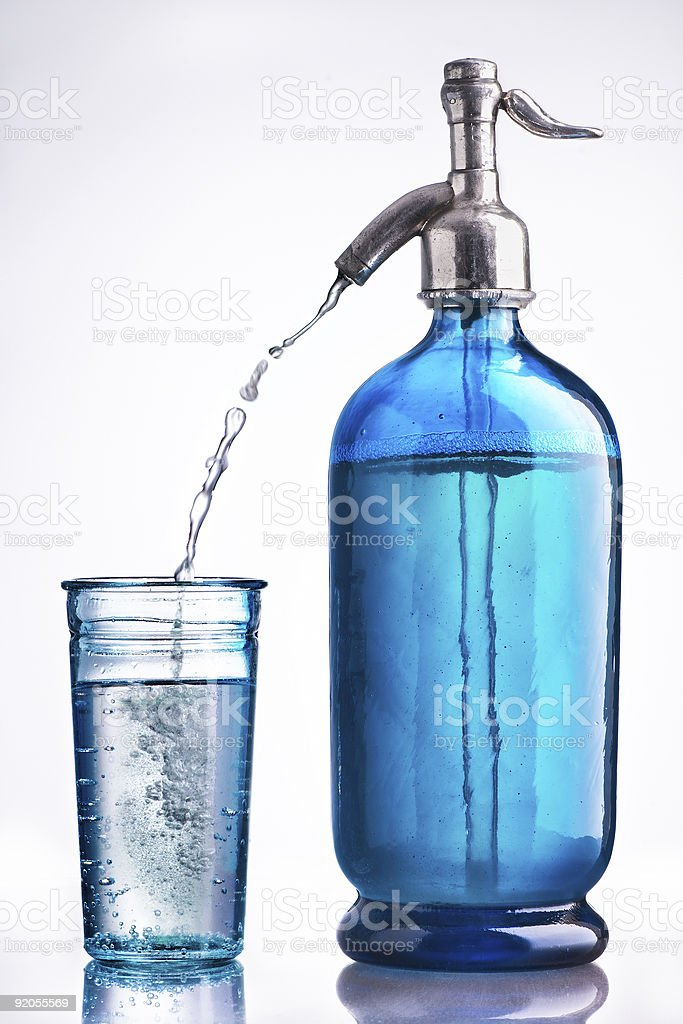 Vintage glass and siphon of water stock photo