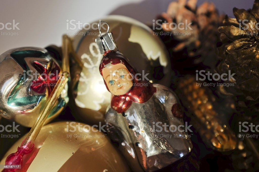 Vintage glass baubles and pine cones stock photo