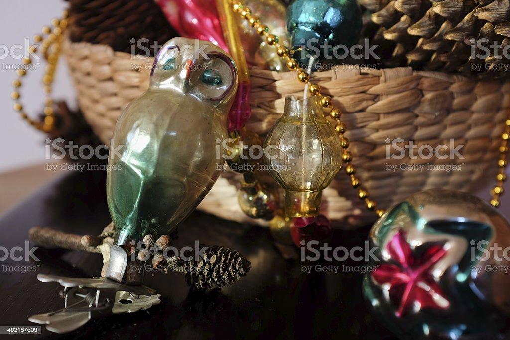 Vintage glass baubles stock photo