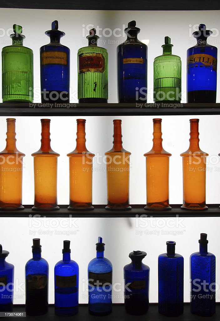 Vintage Glass Bottles royalty-free stock photo