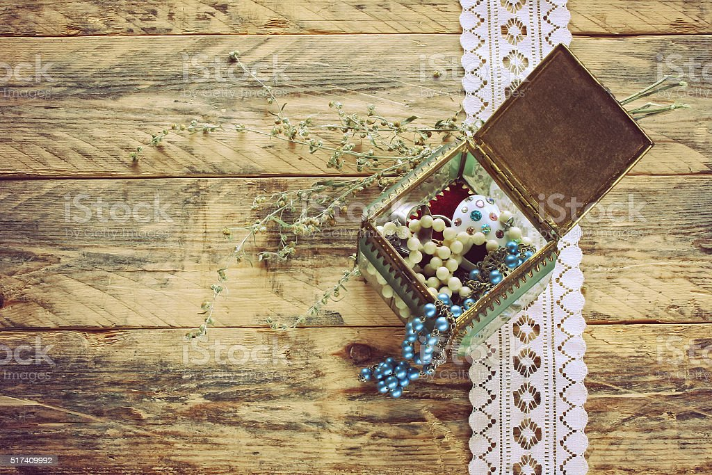 vintage glass gift box with jewel stock photo