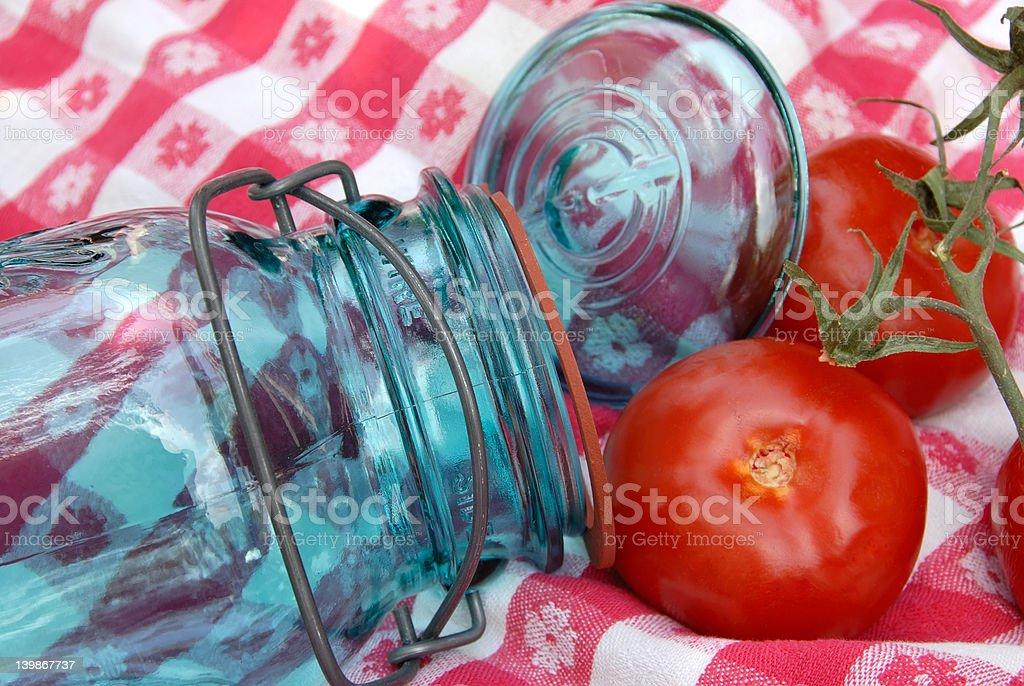 Vintage Glass Tomato Canning Jar royalty-free stock photo