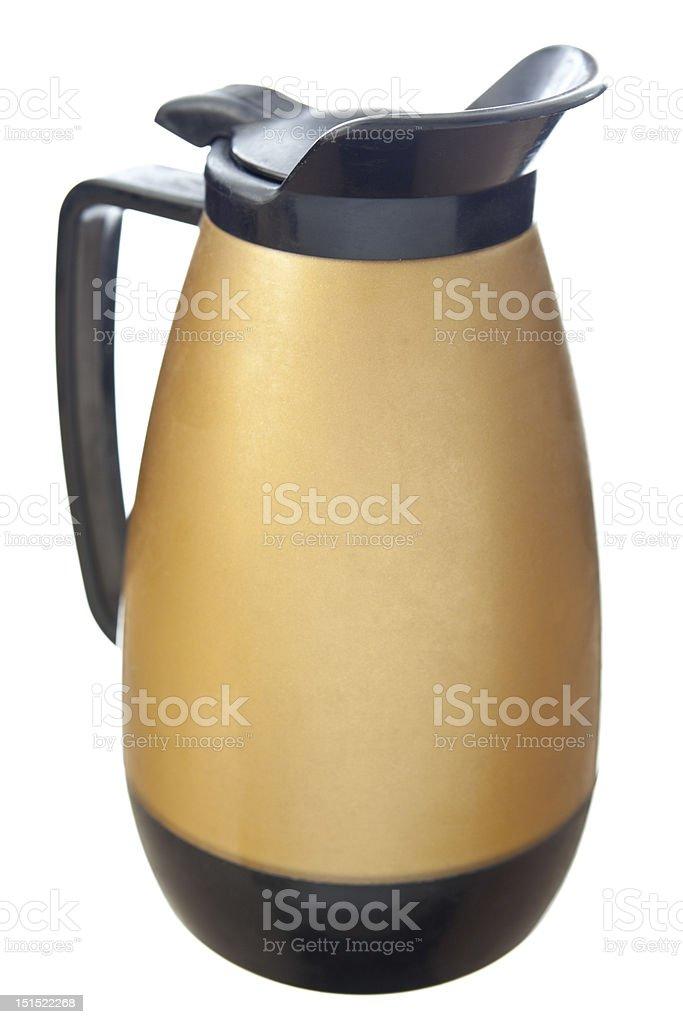 XXXL Vintage Gold Black Plastic Coffee Pot Isolated White Background royalty-free stock photo