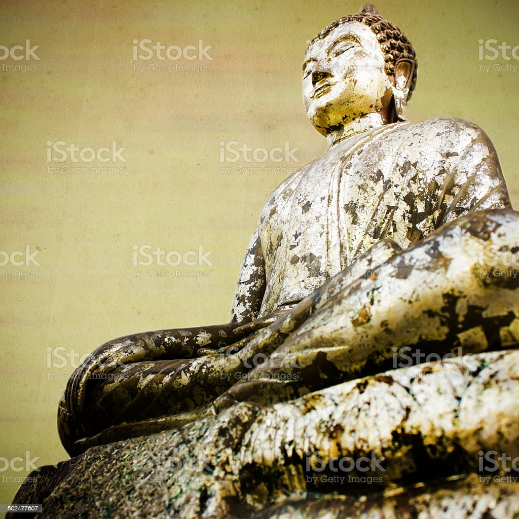 Vintage gold buddha statue . royalty-free stock photo