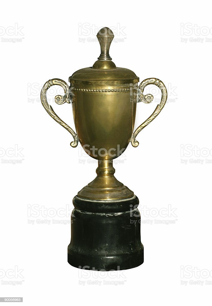 Vintage gold cup with path royalty-free stock photo