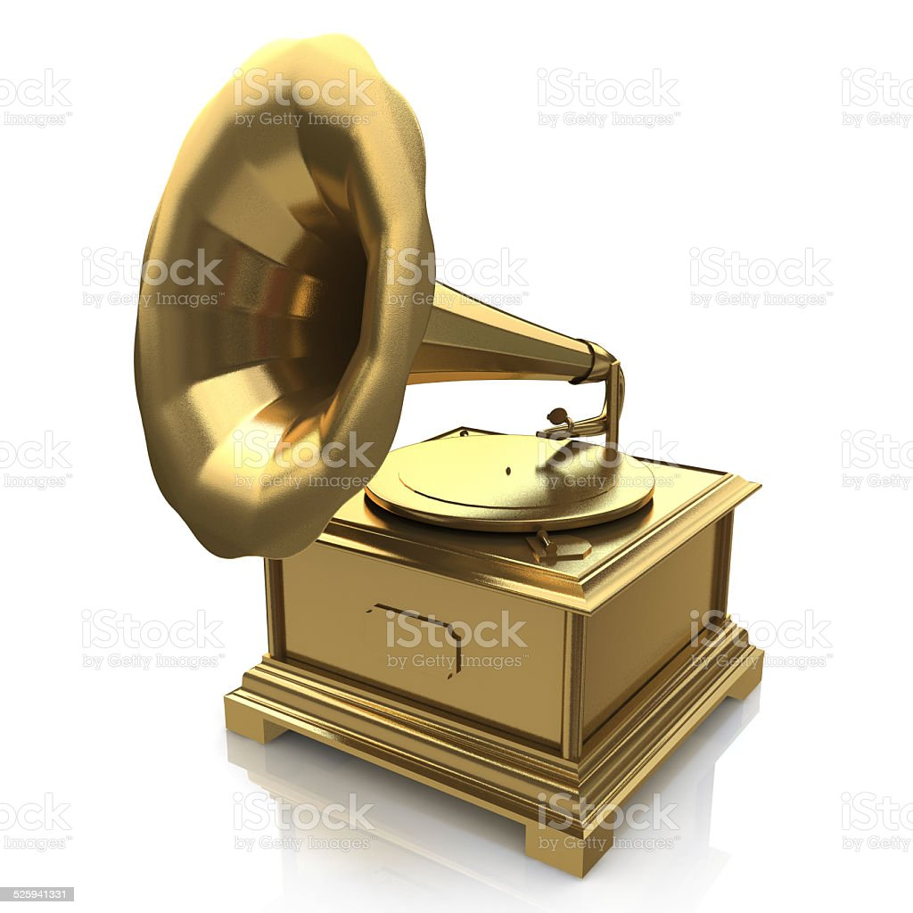 Vintage gold gramophone stock photo