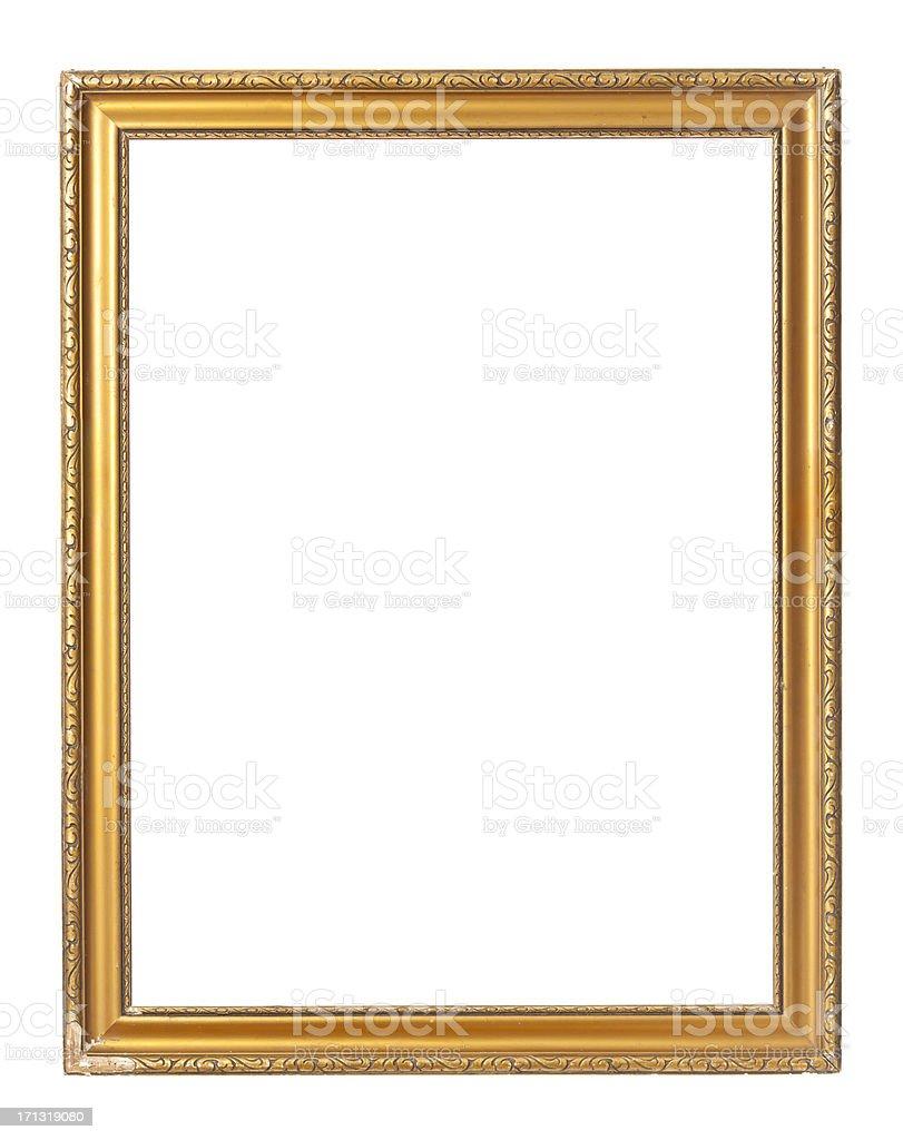 Vintage gold rectangular painting frame on white background stock photo