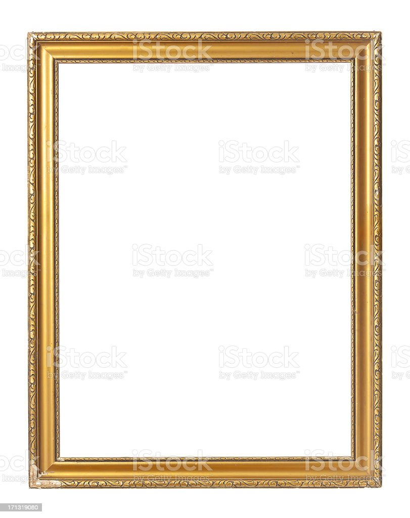 Vintage gold rectangular painting frame on white background stock photo