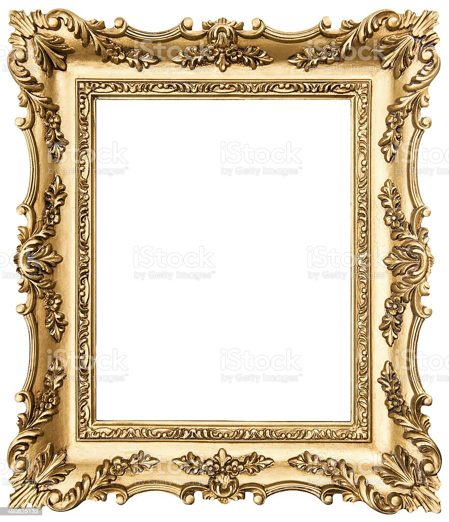 vintage golden picture frame isolated on white stock photo