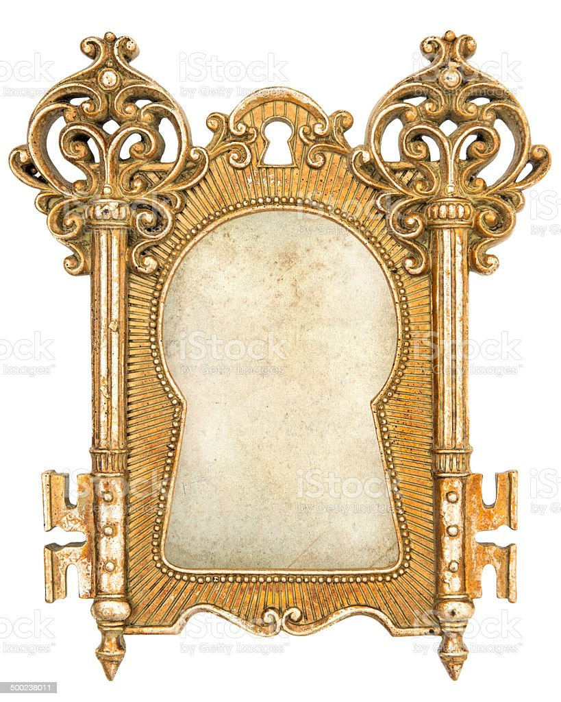 vintage golden picture frame with canvas stock photo