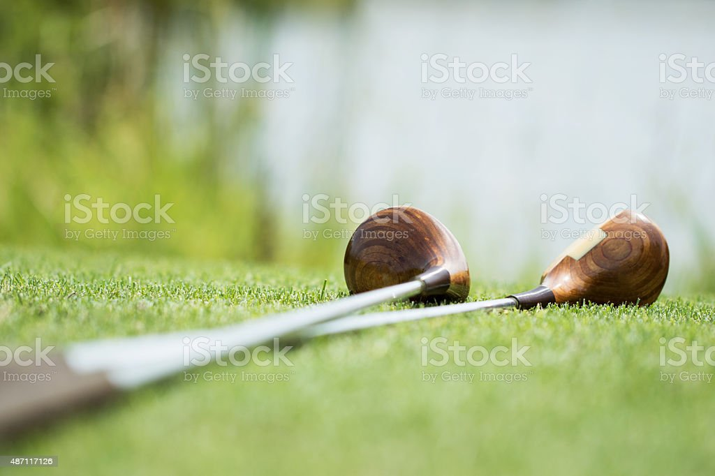 Vintage golf clubs made with wood. stock photo