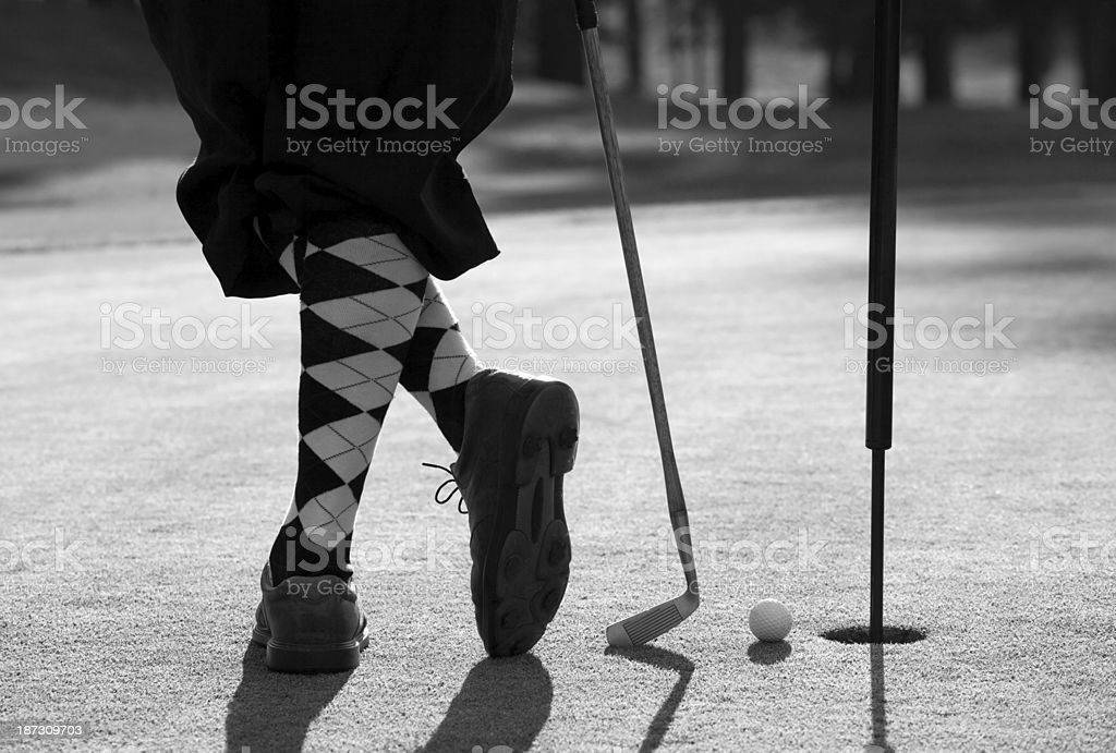 Vintage Golfer with Plus Fours And Hickory Golf Club stock photo