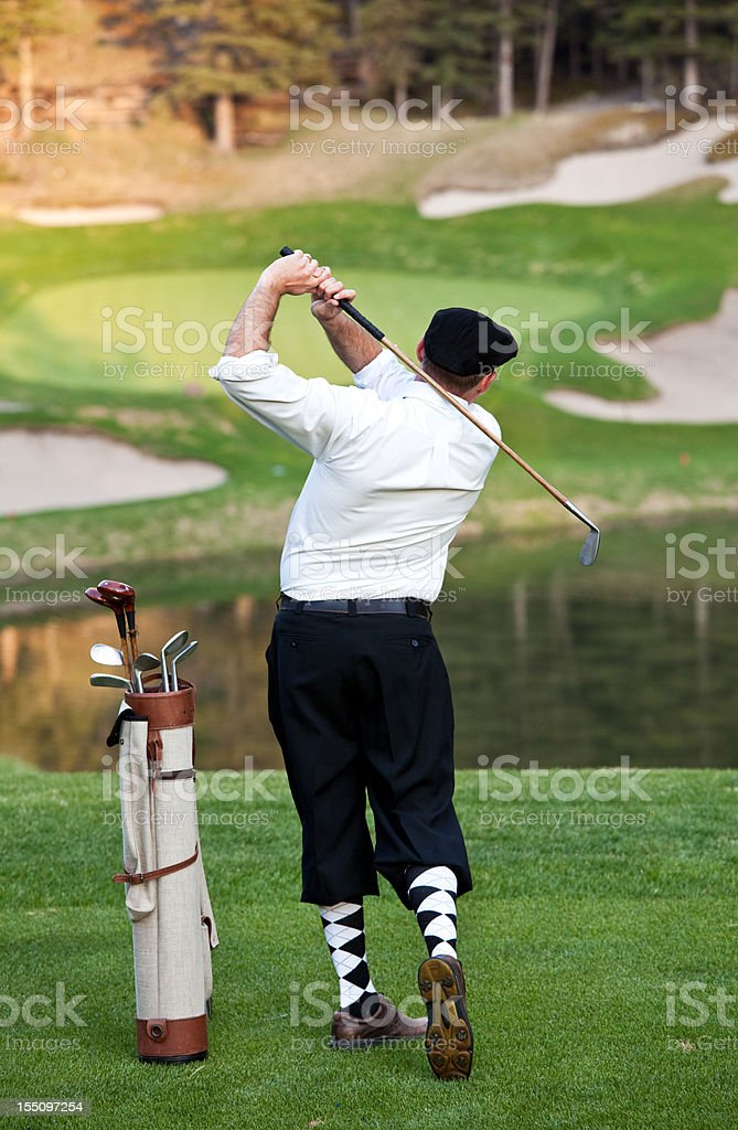 Vintage Golfer with Plus Fours stock photo