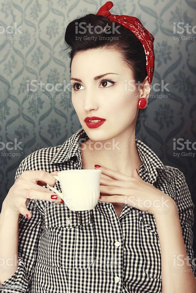 Vintage Gossip and Coffee Time royalty-free stock photo