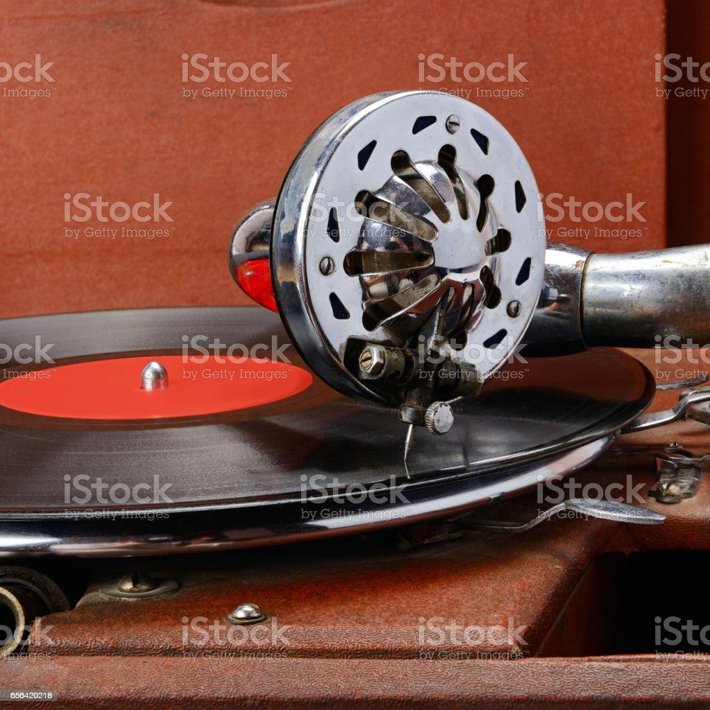 Vintage gramophone stock photo
