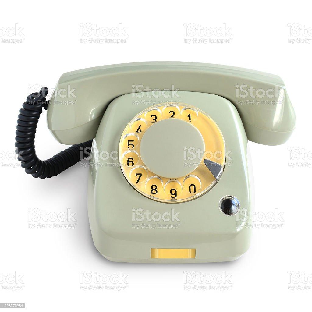Vintage gray telephone stock photo