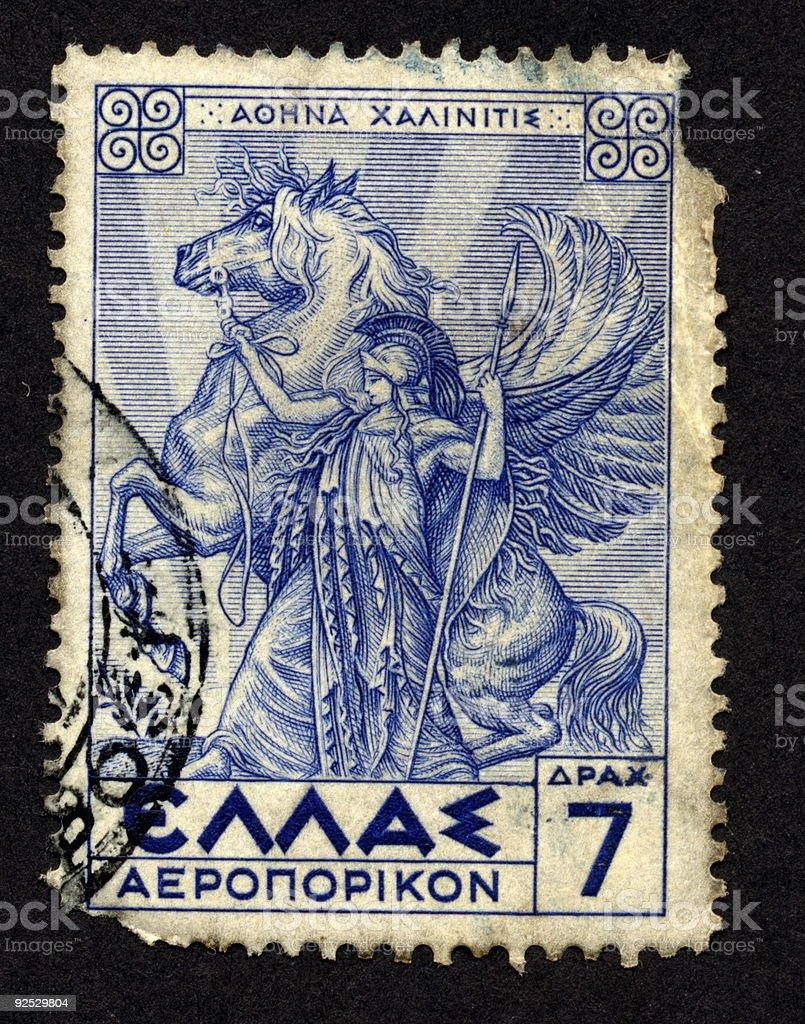 Vintage Greek Stamp 1959 Blue, Ephemera. royalty-free stock photo