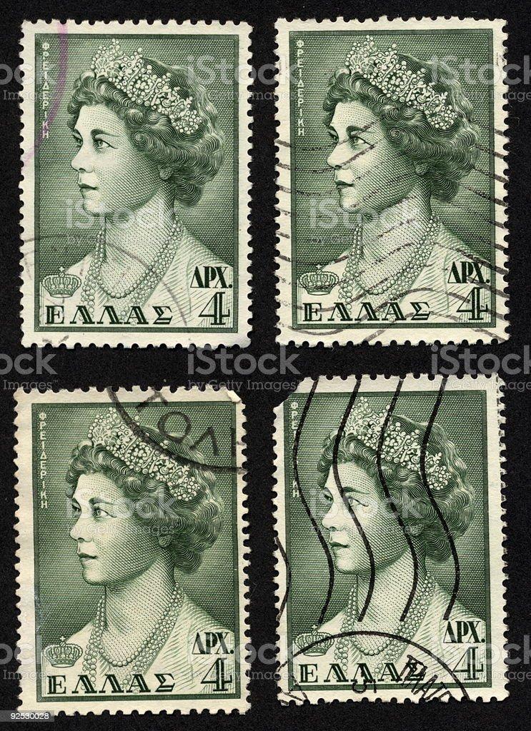 Vintage Greek Stamps Green Queen, Ephemera. royalty-free stock photo