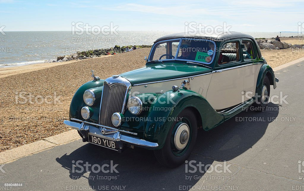 Vintage Green and Cream Riley Motor Car stock photo