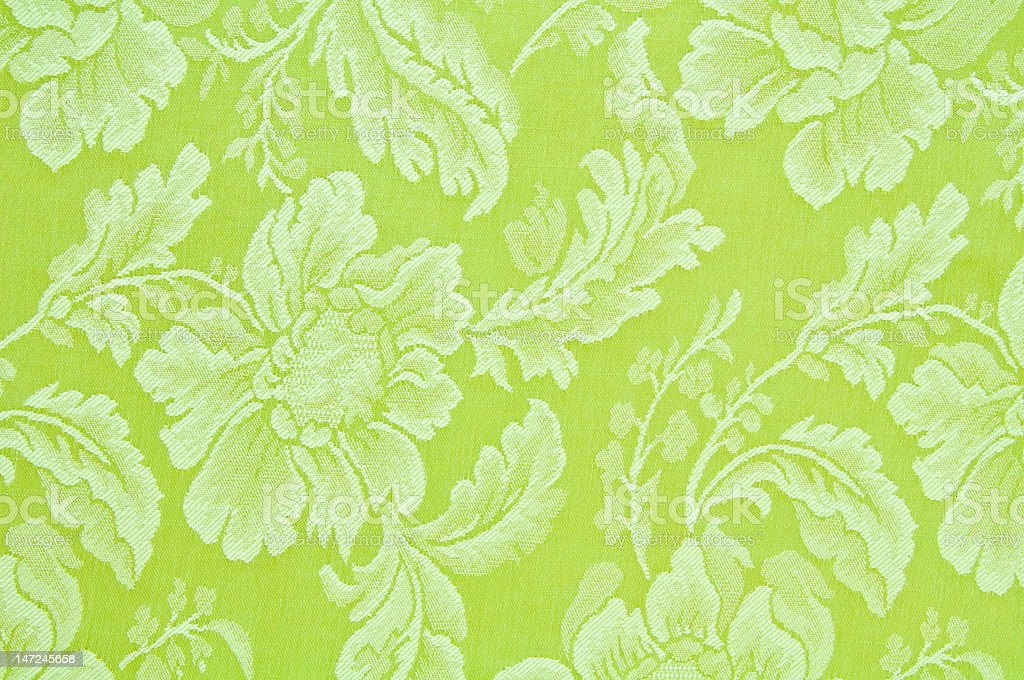 Vintage green floral pattern fabric royalty-free stock photo