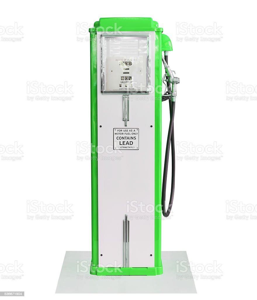 Vintage green fuel pump on white background stock photo