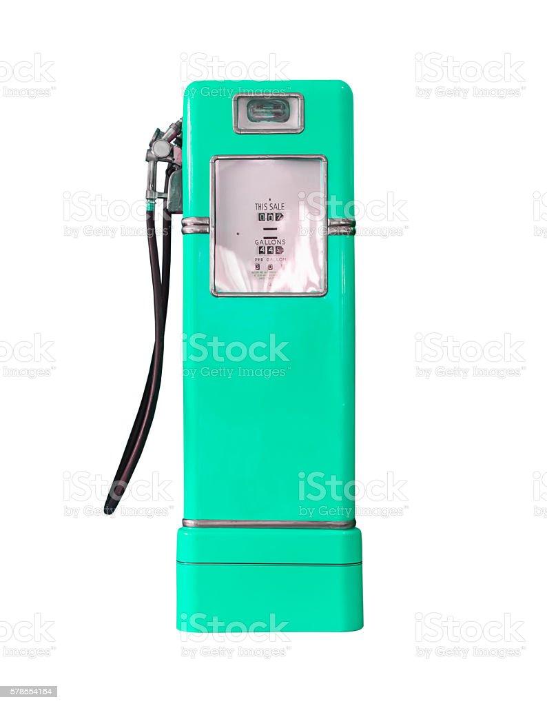 Vintage green fuel pump on white stock photo