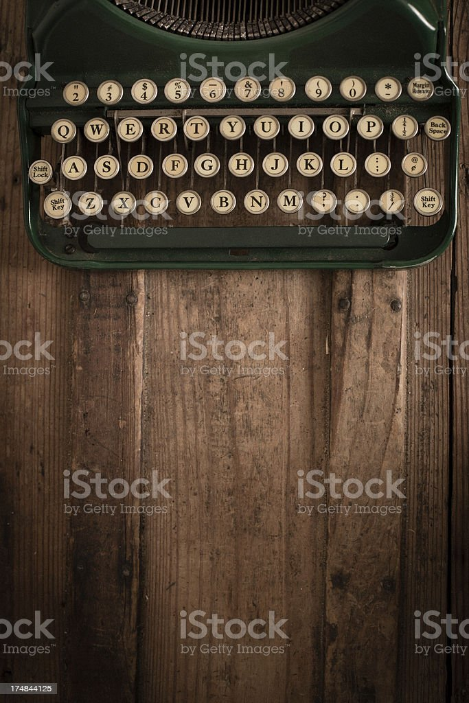 Vintage, Green, Manual Typewriter, With Copy Space stock photo