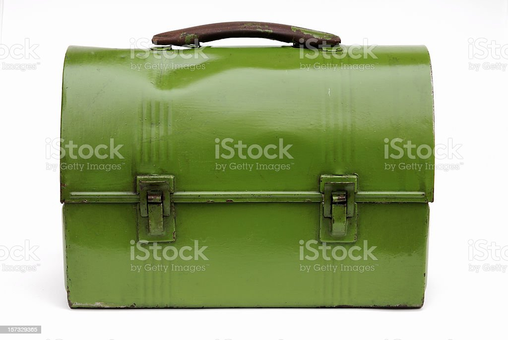 Vintage green metal lunch box royalty-free stock photo