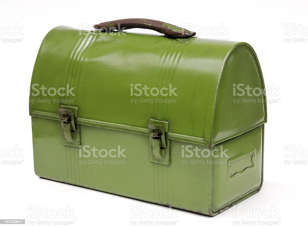 Vintage green metal workman's lunch box stock photo